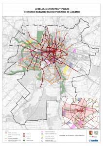 Mapa sieci pieszej w Lublinie mała